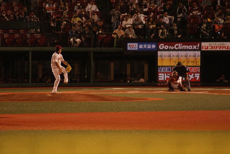 田中の投球練習